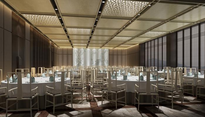 新中式酒店多功能宴会厅3D模型【ID:753346277】