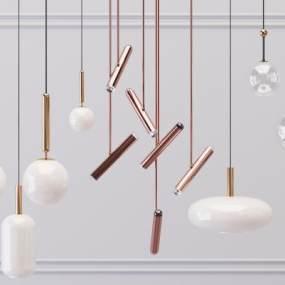 现代金属吊灯3D模型【ID:753438813】