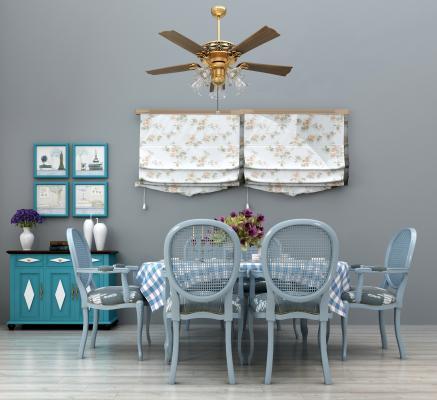 地中海餐桌椅餐边柜窗帘吊灯组合3D模型【ID:830504855】