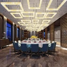 新中式餐厅包房3D模型【ID:653227808】