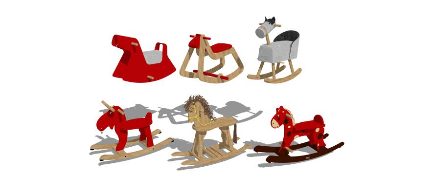 現代玩具木馬組合1SU模型【ID:147734351】