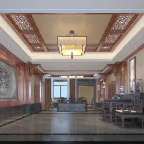 现代中式别墅客厅 3D模型【ID:541508077】