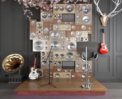 现代音响乐器摆件组合3D模型【ID:240647795】