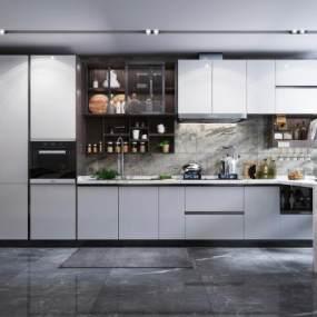 現代風格廚房櫥柜3D模型【ID:546928348】