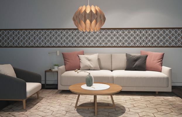北欧布艺沙发茶几台灯组合
