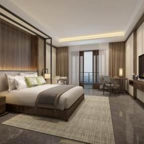 新中式酒店客房3D模型【ID:753373314】