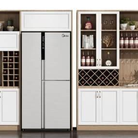 現代北歐酒柜冰箱組合3D模型【ID:647327204】