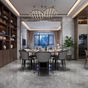 新中式别墅餐厅厨房3D模型【ID:535451125】