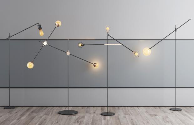 現代金屬落地燈組合3D模型【ID:853012279】