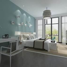 新中式卧室 3D模型【ID:541271266】