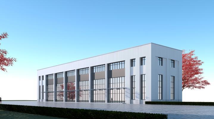现代工业厂房3D模型【ID:245676362】