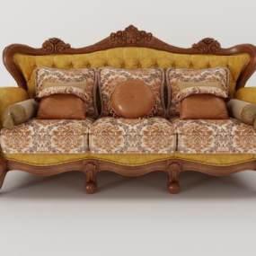 美式沙發3D模型【ID:632319666】