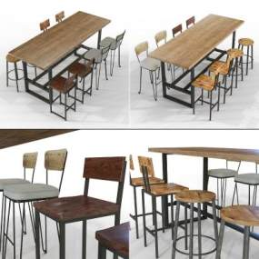 工業風長形餐桌椅3D模型【ID:844178899】