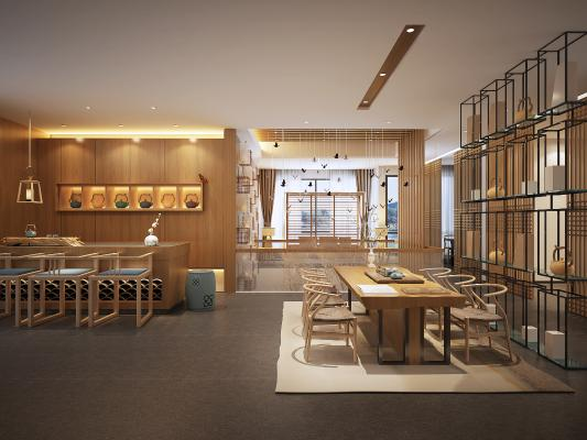 新中式餐厅3D模型【ID:642572696】