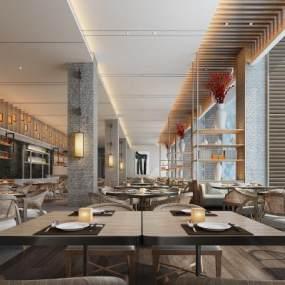 新中式餐厅3D模型【ID:636065255】