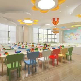 现代幼儿园教室3D模型【ID:950555605】