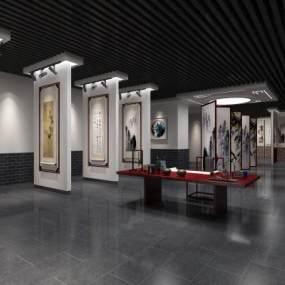 新中式书画展厅3D模型【ID:946554939】