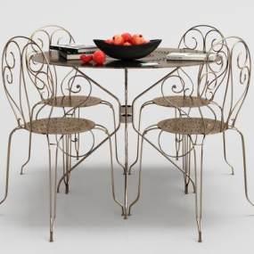 现代金属餐桌椅组合3D模型【ID:834688864】