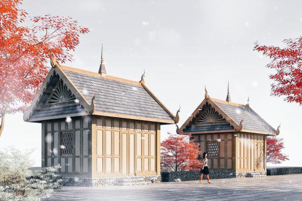 東南亞風格售賣亭3D模型【ID:146171989】