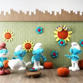 现代蓝精灵向日葵儿童玩具组合3D模型【ID:335828497】