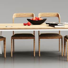 现代实木餐桌椅组合3D模型【ID:834647866】