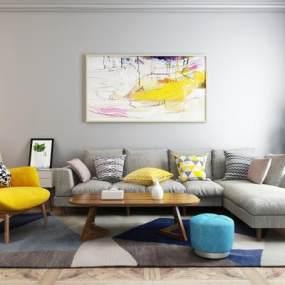 现代沙发茶几组合3D模型【ID:651041785】