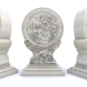 新中式石材雕塑3D模型【ID:348725122】