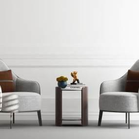 现代布艺沙发组合 3D模型【ID:642351796】