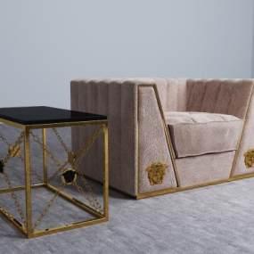 现代单人沙发边几组合3D模型【ID:635678405】