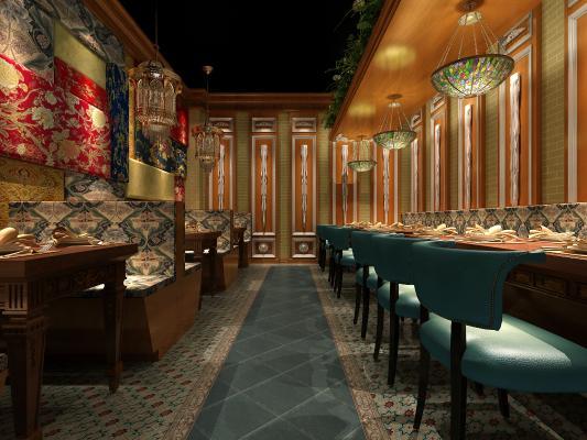 欧式餐厅3D模型【ID:643240248】