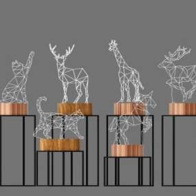现代创意小鹿灯夜灯3D模型【ID:835635528】