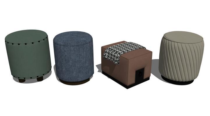 现代矮凳脚凳组合SU模型【ID:847991563】