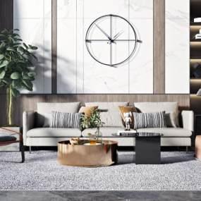 现代轻奢沙发茶几组合3D模型【ID:644886717】
