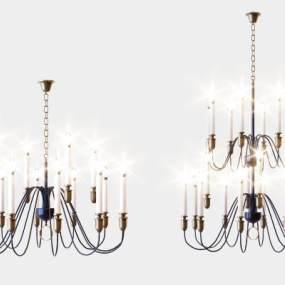 簡歐奢華蠟燭吊燈3D模型【ID:743875869】