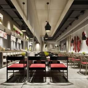 新中式餐厅3D模型【ID:632839263】