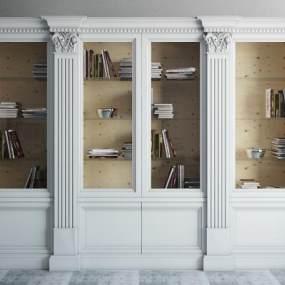欧式白色书柜3D模型【ID:132856535】