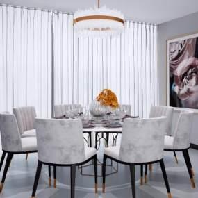 現代圓形餐桌椅組合3D模型【ID:848029827】