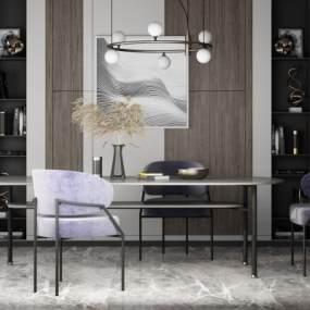 现代餐桌椅3D模型【ID:845669849】