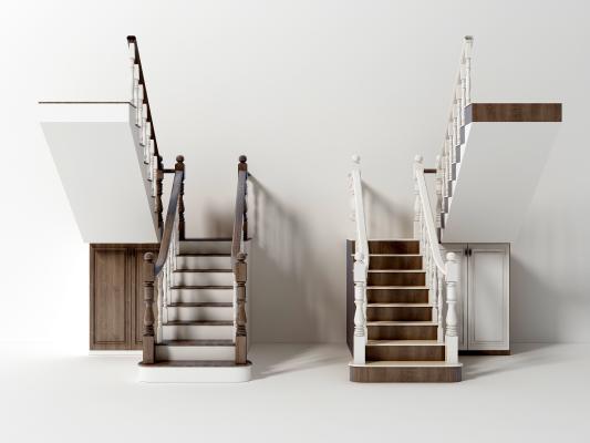 現代簡歐樓梯組合3D模型【ID:342826580】