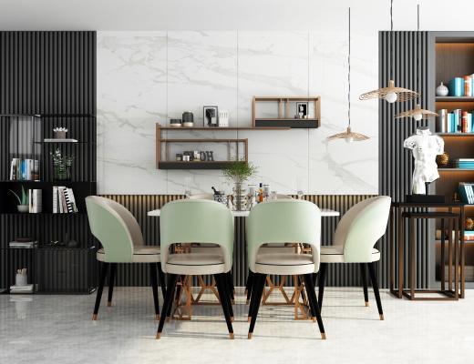 现代餐桌椅组合3D模型【ID:844415854】