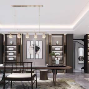 新中式茶室书房吊灯地毯绿植3D模型【ID:636097185】