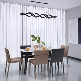 現代餐桌椅組合3D模型【ID:848301888】