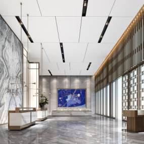 新中式售楼中心大厅3D模型【ID:944009201】