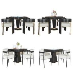 现代轻奢麻将桌餐桌椅组合3D模型【ID:845545870】