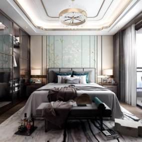 新中式卧室3D模型【ID:547345277】