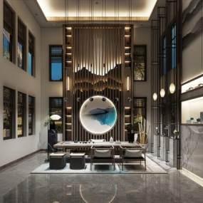 新中式茶室空间3D模型【ID:636244101】