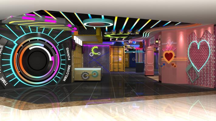 工業風電玩城3D模型【ID:842815795】
