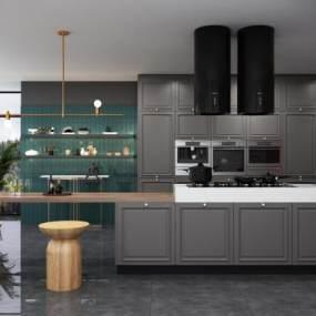 现代厨房3D模型【ID:549250329】