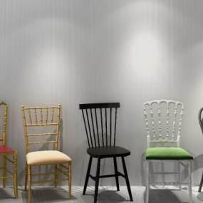 现代椅子组合3D模型【ID:733553172】