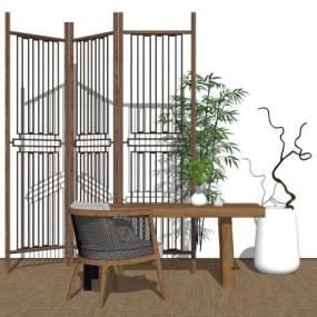 新中式茶桌 屏风 植物摆件组合【ID:452031281】